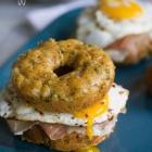 Spicy Kale Cheddar Doughnut Egg Sandwiches