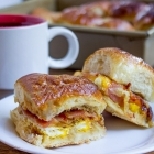 Baked Bacon Egg and Cheese Hawaiian Sliders