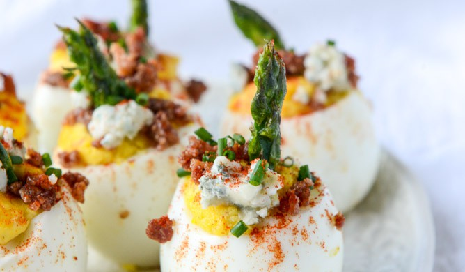 Bacon Blue Deviled Eggs with Roasted Garlic and Asparagus